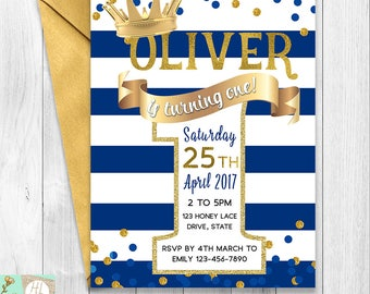 Navy Stripes Boy's First Birthday, Little Prince Birthday Invitation, Crown Prince Birthday, Boy's Birthday, Turning One, Gold Confetti