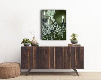 Chandelier Painting, chandelier canvas art, green canvas art, wall art canvas, living room wall art, chandelier canvas painting, bedroom art