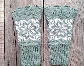 Fair Isle mint fingerless gloves, knit mittens, wool gloves, wool mittens, fair isle, gloves, women mittens, norwegian gloves, scandinavian