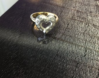14k Yellow/White Gold Ladies Heart Ring