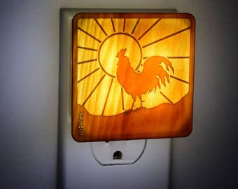 Rooster in he Rising Sun Light, Night-Light