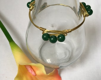Green Aventurine Bangle Bracelet, Wire Wrapped Bracelet, Gemstone Bracelet