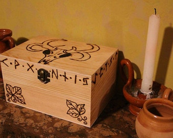 Wooden Box - Large Box - Pyrography - Animal Skull Runes Leaves - Wood Box - Woodburning