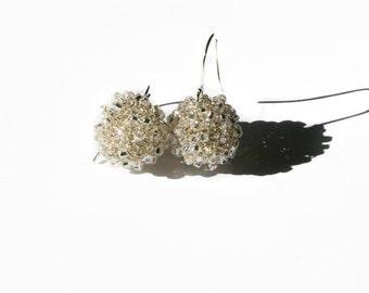 Silver Wire Ball Drop Earrings Beaded Crochet, Handmade Elegant Earrings With Beads