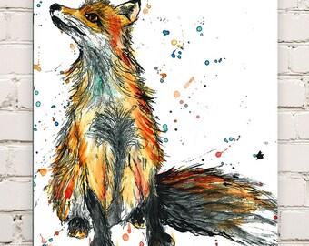 Wood Mounted Fox Print
