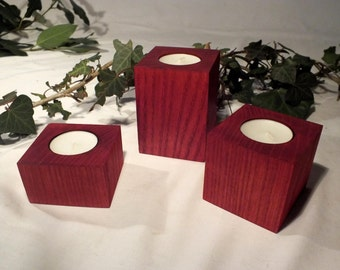 Set of 3 stained wood tealight holders