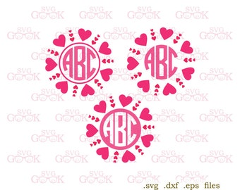 Valentines Day SVG, Heart Circle Monogram Frames SVG, Hearts Monogram svg, Valentine svg cut files for Cricut and Silhouette, svg files