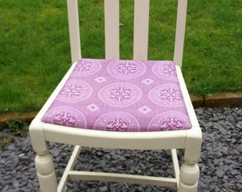 Cream Dining Chair with Purple Vintage Fabric Seat