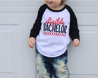 Eligible Bachelor, Valentines Day Shirt, Boy Valentines Day Shirt, Funny Valentines Shirt, V-Day Shirt, Baby Boy, Toddler Boy, Valentine Tee