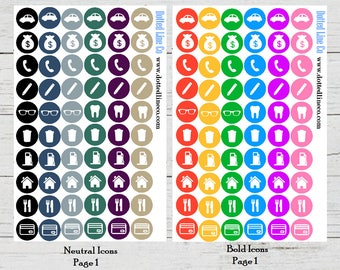 Bold and Neutral Icon Planner Stickers