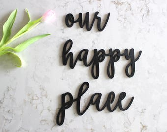 our happy place sign // Wood Sign //Home Decor//gather Decor//Rustic Wood Sign// neutral decor // Wall Hanging // gather // happy place sign
