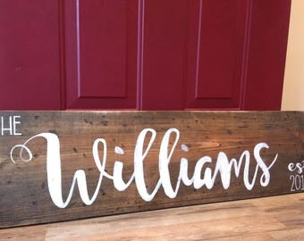 Last Name Wood Sign   Extra Large Last Name Sign   Personalized Name Sign   Wedding Gift Sign   Wood Name Sign