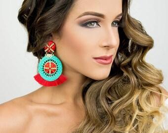 Tassel Earrings, Big Earrings, Bohemian Jewelry, Red Chandelier Earrings, Long Earrings, Boho-Chic Jewelry, Dangle Earrings,Fashion Earrings