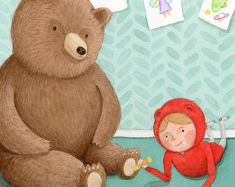 Playroom Artwork for Kids - Mr. Bear and Poppy Draw Pictures - Children's Illustration - Little Red Riding Hood and Bear