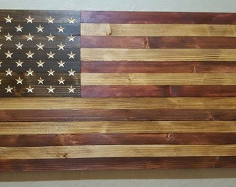 "United States American Flag Sign Carved From Reclaimed Up-cycled Wood - Measures 39"" x 19.5"" FREE SHIPPING"