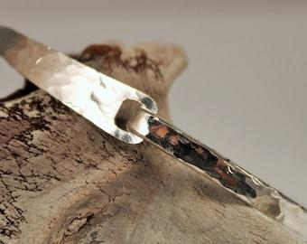 Solid Silver Hammered Hook Bracelet