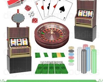 Casino Clipart, Gambling Clip Art, Gamble Image, Poker Chips Graphic, Las Vegas, Slot Machine, Roulette, Dice, Playing Card Digital Download