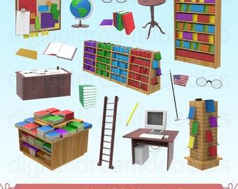 Library Clipart, Library Clip Art, Book Store Image, Bookshelf Graphic, Bookshelves PNG, Bookcase Scrapbook, Librarian Desk Digital Download