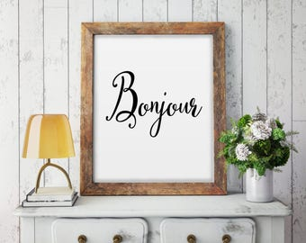 Bonjour Print, Bonjour Poster, Bonjour Sign, Typography Print, Hello In French, Entrance Print, Modern Wall Decor, Digital Print, Home Decor