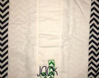 Custom appliqued initial burp cloth