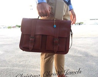 Brown Leather Briefcase, 15 inch Laptop Bag, Messenger Bag, Brown Briefcase, Men's Briefcase, Brown Messenger Bag, Handbag, Made in Greece.