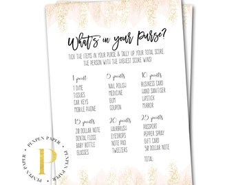 What's in your Purse? Bridal Shower Game, Baby Shower Game, Printable shower Game, Party Game, Gold and Blush, Confetti