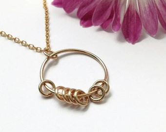 Gold Ring Fidget Jewelry-Circle Necklace for Women-Fidget Necklace-Minimalist Necklace-Worry Necklace-Anxiety Jewelry-Anti Anxiety Necklace