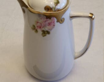 antique silesia porcelain chocolate pot - hermann ohme w/ pink roses - flowers germany bohemia vintage ceramic coffee tea pot teapot water