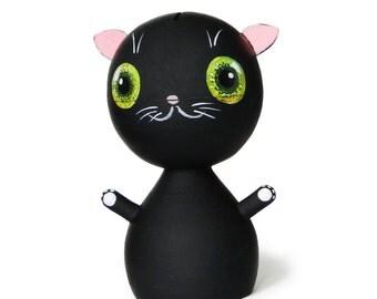 BLACK CAT, Piggy Bank, Wooden Doll, 6,3'