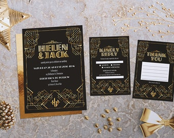 Wedding Invitation | All That Glitters Wedding Suite | Deco Invitation | Art Deco | Gold Wedding | Elegant Invitation | Printable | Custom