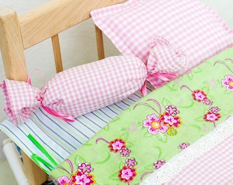 """Flannel bedding, 15"""" doll bedding, pink gingham, pink bedding, reversible comforter, doll accent pillow, green doll bedding, doll mattress"""