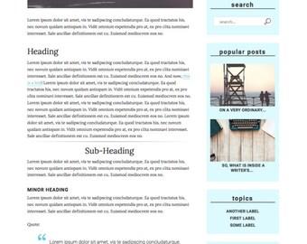 Premade Blogger Template Responsive Minimal Blogspot for Lifestyle, Fashion, Book, Travel, Food Blogger with Free Installation- Bleu et Noir