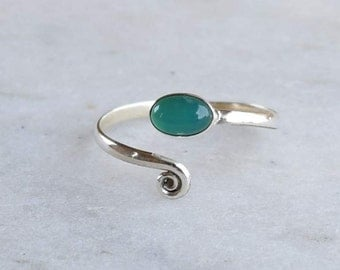 Toe Ring, Green Onyx  Toe Ring, Sterling Silver, Silver Toe Ring ,