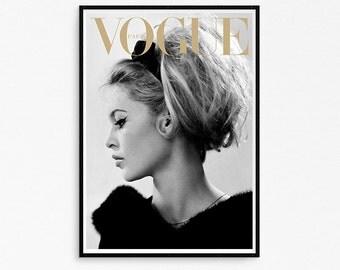 Fashion poster. Fashion cover. Brigitte Bardot poster. Fashion printable poster. Brigite Bardot retro cover print