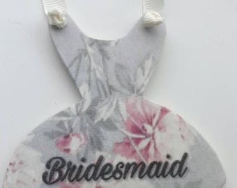 Bridesmaid gift, bridesmaid thank you gift, bridesmaid keepsake gift, wedding gift, dress hanging, dress shaped keepsake, gift for her
