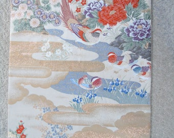 Japanese  SILK OBI Sash Panel -  Birds among Flowers