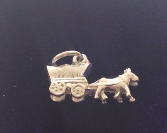 Sterling silver covered wagon pioneer charm vintage # 1130