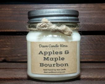 Mason Jar Candles - 8oz Soy Candles Handmade - Fathers Day Gift - Natural Candles - Rustic Candles -Homemade Candle - Apples & Maple Bourbon
