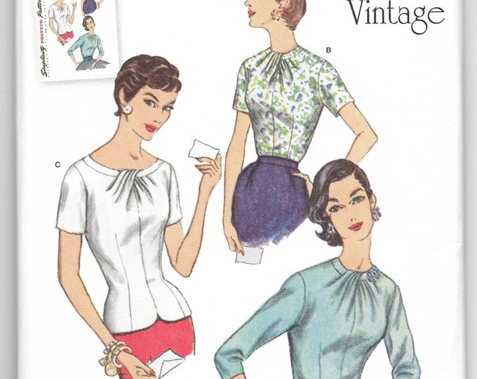 Misses Blouses Tops 50s Vintage Retro Fashion Sewing Pattern Simplicity 1278 Sizes 14-16-18-20-22