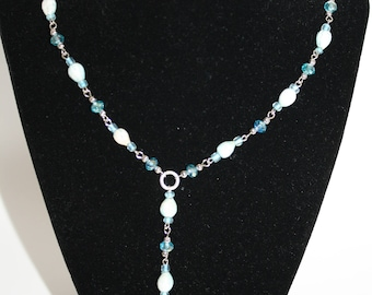 Cruise Necklace Y Style Natural Dyed Island Seed Beads Blue Crystals Cut Glass Beach Wedding