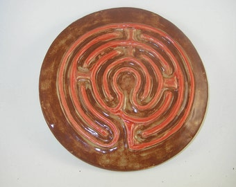 "Petite Chartres finger labyrinth, orange on shino, 8"" diameter,  PC022517"
