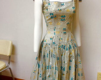 VINTAGE EMMA DOMB Classic 1950s Gingham Sundress with Sequins, Blue and Yellow designs, attached Tulle underlay--xs
