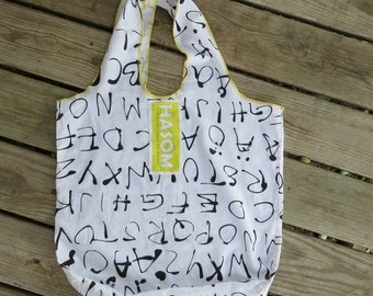 Upcycled / Reusable Shopping Bag / Reusable Grocery Bag / Reusable Bag / Tote Bag/ Shopping Bag / Farmers Market Bag / Alphabet