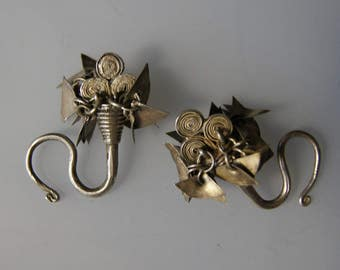 Ethnic Tribal Hmong Laos Hilltribe Silver Ear Ornaments