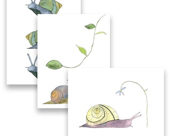 Blank notecards, cute stationery, illustrated cards, stationery pack, card multi-pack, snail cards