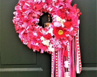 40% OFF HOLIDAY SALE! Valentine Wreath, Heart Wreath, Valentine's, Rag Wreath, Fabric Wreath, Front Door Wreath, Door Wreath, Ribbon Wreath