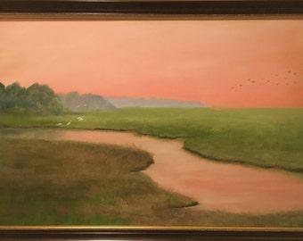 Florida Sunset With Bird Flock