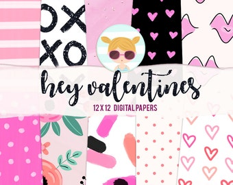 Hey Valentines Digital Paper