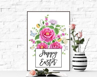 Happy Easter print Floral Easter sign print Digital Easter art 8x10 printable Easter watercolor floral art Girl room decor Baby girl gift