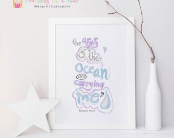 Ocean Print, Surf Art, Lyrics Print, Florence and Machine, Never Let Me Go, Illustration, Watercolor Print, Typography Poster, Wall Decor